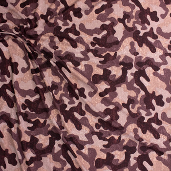 Mauve Camouflage Brushed Sweater Knit Fabric By The Yard - Wide shot