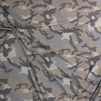 Grey Faded Heather Camouflage Rayon French Terry Fabric By The Yard - Wide shot