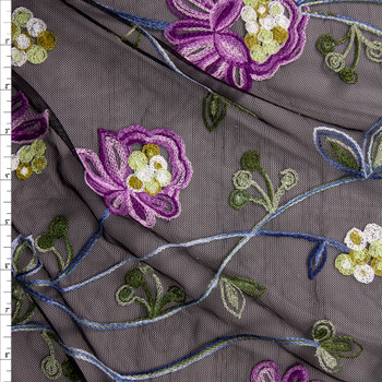 Purple, Green, and Blue Embroidered Floral on Black Mesh Fabric By The Yard