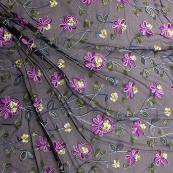 Purple, Green, and Blue Embroidered Floral on Black Mesh Fabric By The Yard - Wide shot