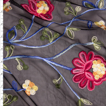 Red, Green, and Blue Embroidered Floral on Black Black Mesh Fabric By The Yard