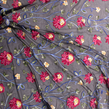 Red, Green, and Blue Embroidered Floral on Black Black Mesh Fabric By The Yard - Wide shot