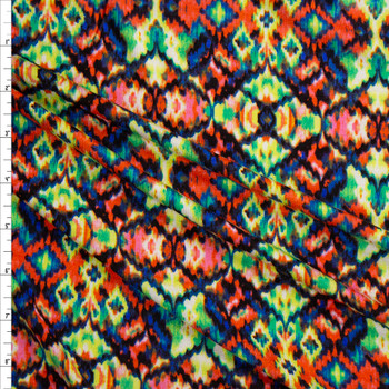 Stained Glass Kaleidoscope Rayon Jersey Knit Fabric By The Yard