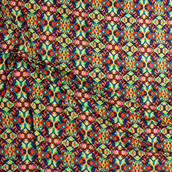 Stained Glass Kaleidoscope Rayon Jersey Knit Fabric By The Yard - Wide shot