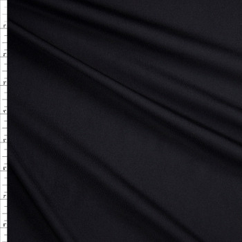 Black Poly/Spandex Midweight Athletic Knit Fabric By The Yard