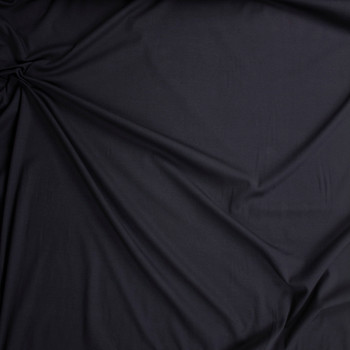 Black Midweight Cotton Micro Ribbing Fabric By The Yard - Wide shot