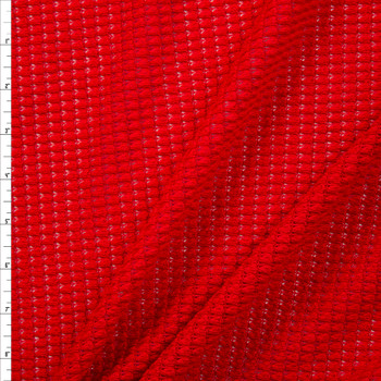 Bright Red Chunky Waffle Knit Fabric By The Yard