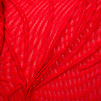 Bright Red Chunky Waffle Knit Fabric By The Yard - Wide shot