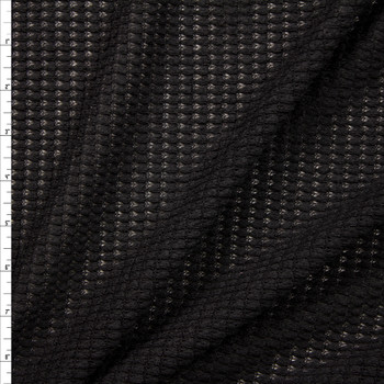 Black Chunky Waffle Knit Fabric By The Yard