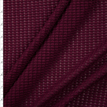 Wine Chunky Waffle Knit Fabric By The Yard