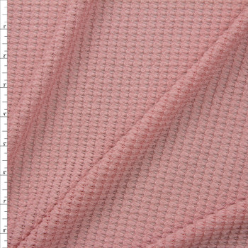 Light Rose Chunky Waffle Knit Fabric By The Yard