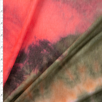 Olive and Neon Coral Tie Dye Rayon French Rerry Fabric By The Yard