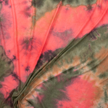 Olive and Neon Coral Tie Dye Rayon French Rerry Fabric By The Yard - Wide shot