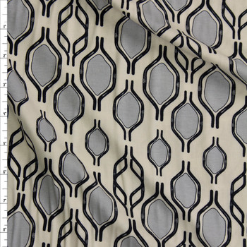 Handlebar Tricks Gris Cotton/Spandex Knit From 'Art Gallery Fabrics' Fabric By The Yard