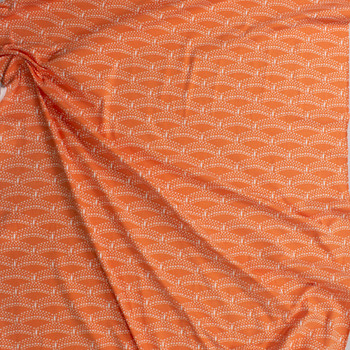 Petal and Plume Orange Cotton/Spandex Knit From 'Art Gallery Fabrics' Fabric By The Yard - Wide shot