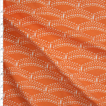 Petal and Plume Orange Cotton/Spandex Knit From 'Art Gallery Fabrics' Fabric By The Yard