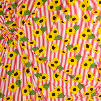 Sunflowers on Hot Pink and White Stripe Double Brushed Poly/Spandex Fabric By The Yard - Wide shot