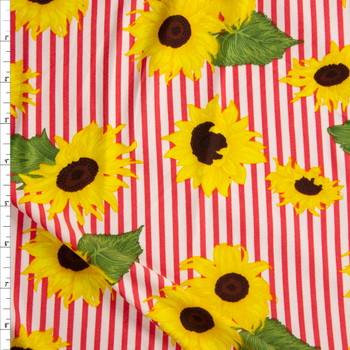 Sunflowers on Hot Pink and White Stripe Double Brushed Poly/Spandex Fabric By The Yard