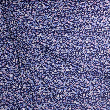 Pink, Light Blue, and White Mini Floral on Navy Blue Double Brushed Poly/Spandex Fabric By The Yard - Wide shot