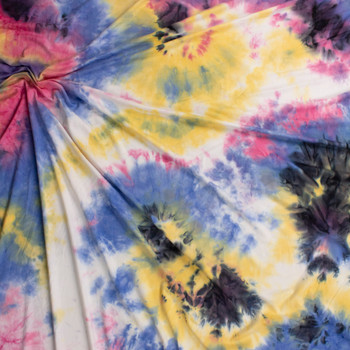 Black, Pink, Yellow, and Blue Tie Dye Double Brushed Poly/Spandex Fabric By The Yard - Wide shot