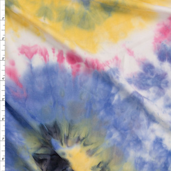 Black, Pink, Yellow, and Blue Tie Dye Double Brushed Poly/Spandex Fabric By The Yard