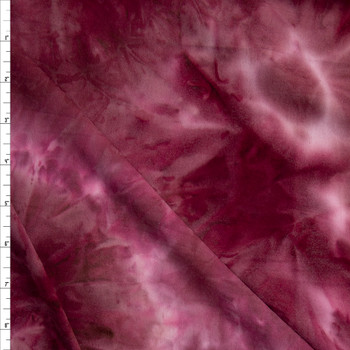 Wine and Pink Tie Dye Double Brushed Poly/Spandex Fabric By The Yard