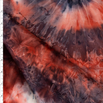 Red, Black, and White Tie Dye Double Brushed Poly/Spandex Fabric By The Yard