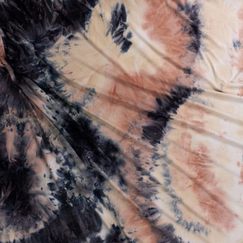 Navy, Mauve, and Ivory Tie Dye Double Brushed Poly/Spandex Fabric By The Yard - Wide shot