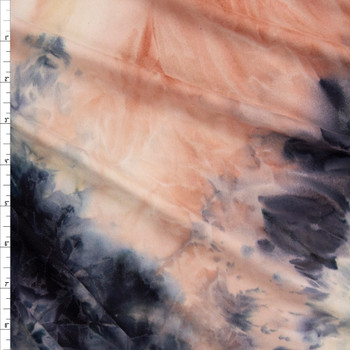 Navy, Mauve, and Ivory Tie Dye Double Brushed Poly/Spandex Fabric By The Yard