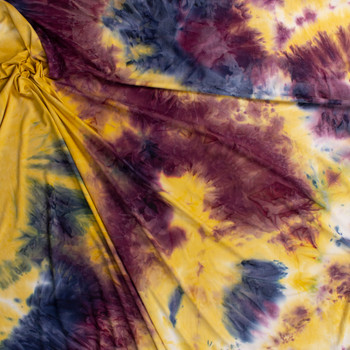 Plum, Yellow, and Navy Tie Dye Double Brushed Poly/Spandex Fabric By The Yard - Wide shot