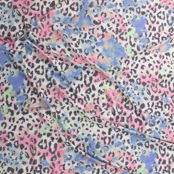 Grey Cheetah on Pastel Blotches Rayon French Terry Fabric By The Yard - Wide shot