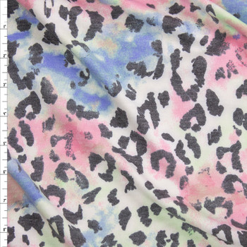 Grey Cheetah on Pastel Blotches Rayon French Terry Fabric By The Yard