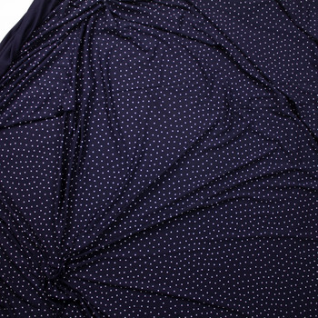 White on Navy Polka Dots Stretch Rayon Jersey Knit Fabric By The Yard - Wide shot