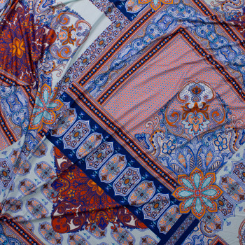 Orange and Blue Layered Bohemian Diamond Stretch Rayon Jersey Knit Fabric By The Yard - Wide shot
