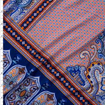 Orange and Blue Layered Bohemian Diamond Stretch Rayon Jersey Knit Fabric By The Yard