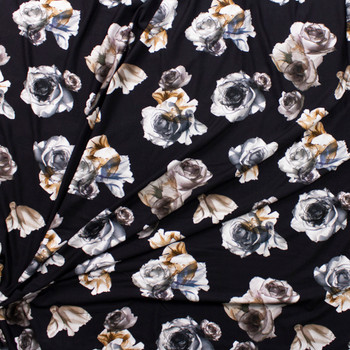 Grey and Tan Roses on Black Stretch Rayon Jersey Knit Fabric By The Yard - Wide shot