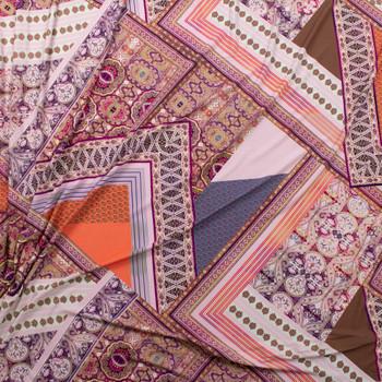 Plum, Orange, Slate, and Blue Layered Bohemian Diamonds Stretch Rayon Jersey Knit Fabric By The Yard - Wide shot