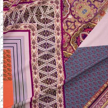 Plum, Orange, Slate, and Blue Layered Bohemian Diamonds Stretch Rayon Jersey Knit Fabric By The Yard