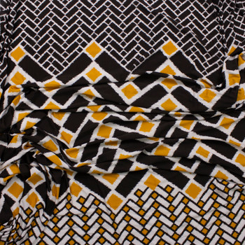 Black, White, and Yellow Geometric Border Print Stretch Polyester Jersey Knit Fabric By The Yard - Wide shot