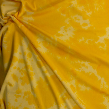 Yellow Tie Dye Cotton Sweatshirt Fleece Fabric By The Yard - Wide shot