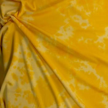 Yellow Tie Dye Cotton Sweatshirt Fleece Fabric By The Yard - Wide shot