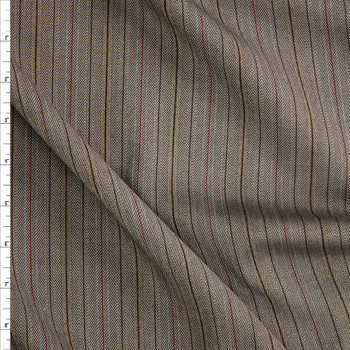 Tan, Black, and Red Vertical Stripe Stretch Suiting Fabric By The Yard