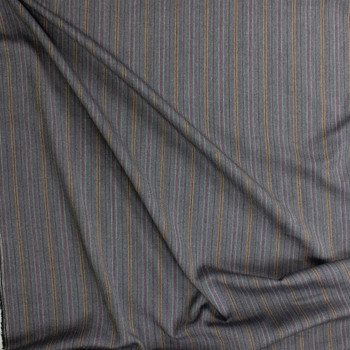 Grey, Black, and Red Vertical Stripe Stretch Suiting Fabric By The Yard - Wide shot