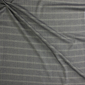 Grey, Ivory, and Sage Plaid Stretch Suiting Fabric By The Yard - Wide shot