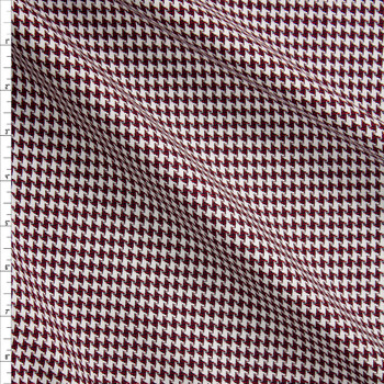 Red, Black, and Offwhite Houndstooth Rayon Suiting Fabric By The Yard