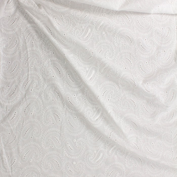 White Paisley Cotton Eyelet Fabric By The Yard - Wide shot