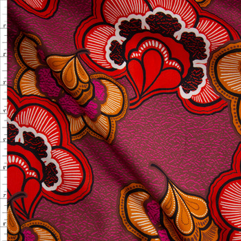 Fuchsia, Red, and Rust Retro Floral Cotton Lawn Fabric By The Yard