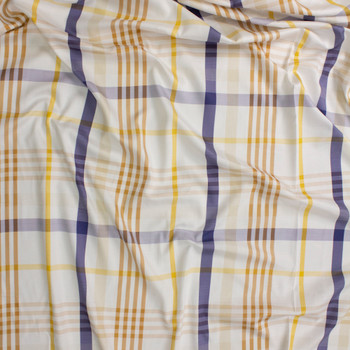 Tan, Blue, Yellow, and White Plaid Cotton Sateen Fabric By The Yard - Wide shot