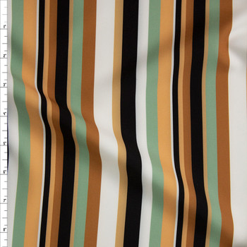 Tan, Sage, Black, and Offwhite Stripe Midweight Rayon Suiting Fabric By The Yard