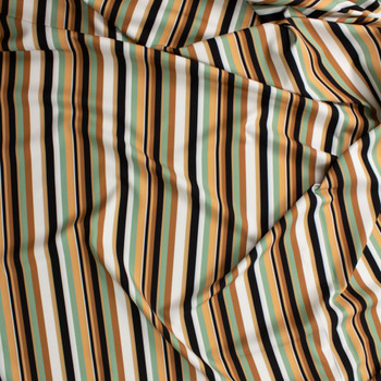 Tan, Sage, Black, and Offwhite Stripe Midweight Rayon Suiting Fabric By The Yard - Wide shot